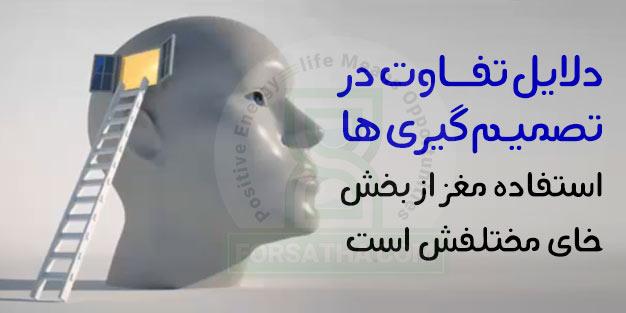 مغز جهت تصمیم گیری از بخش های مختلفی استفاده می نماید.